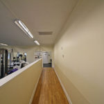 Walk way to cardio area and restrooms
